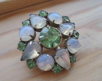 Vintage green brooch.  Opalescent.  Mid Century.  Peridot.