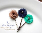 MORE COLORS, Pick 3 Lace Fashion Bobby Pins, Small Floral Hair Accessories for Short Hair, Vintage Inspired Hair Pins, Brown, Jade, Navy