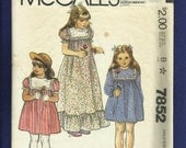 1980's McCalls 7852 Sweet Country Dresses with Ruffled tire & Lace Trimmed Yoke  Size 3