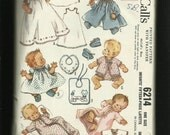 Vintage 1960's McCalls 6214 Mid Century Baby Layette Pattern Christening Gown Bonnet & Much More Size Newborn