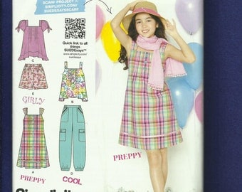 Simplicity 1817 Designer Sun Dress Summer Tops & Pants Sizes 8 to 16 Girls  UNCUT