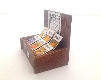 Miniature Fairy Garden Seed BOX, Doll House Furniture,  Miniatures for Fairy House, Gift For Her, For Garden