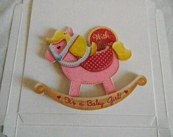 Baby Pink rocking horse Rocker card