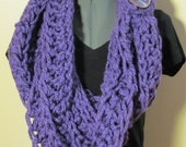 Purple Chunky Crochet Infinity Scarf with Tie-around and Button