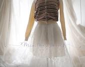 Fairytale Dainty Victorial Pattern Organza White Lace Skirt,Ballerina Style,Pastel Soft,Sweet ,Tutu Puff Skirt,Romance Romantic Clothing