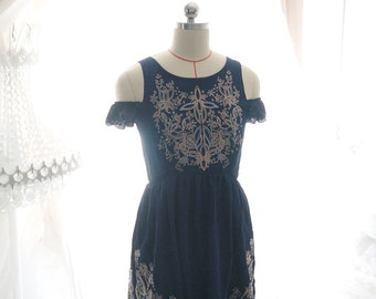 Boho Tribal Embroidery Floral Off The Shoulder Navy Blue Chiffon Dress Ruffled Sleeves, Cross Strap Backless Summer Women Marie Antoinette