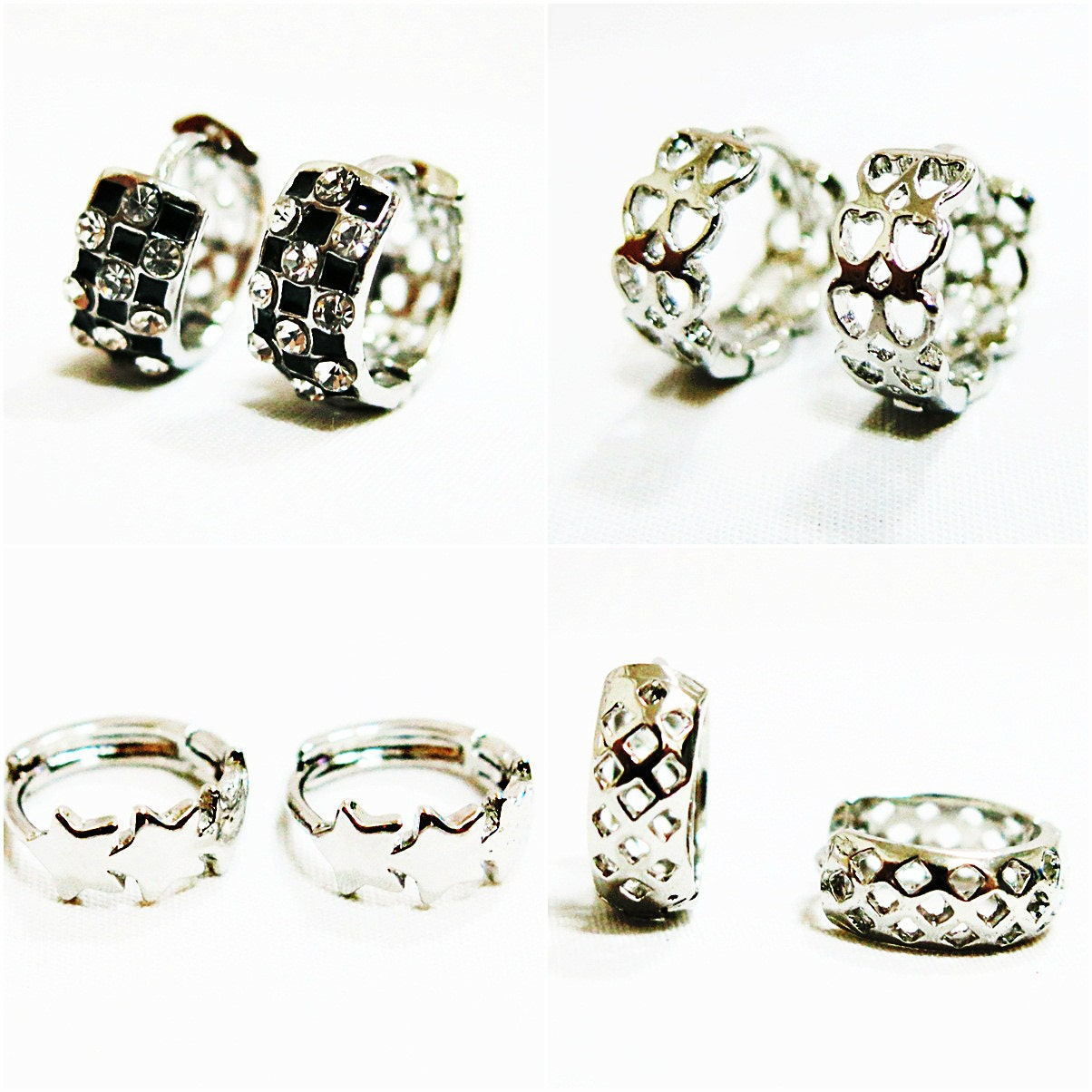 silver hoop earrings silver hoops star hoop small by susysshop. Black Bedroom Furniture Sets. Home Design Ideas