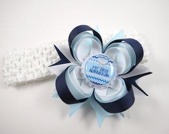 My First Hanukkah Headband - My First Hanukkah Hair Bow - Blue and White Hair Bow - Hanukkah - Newborn Hair Bow - Infant Hair Bow