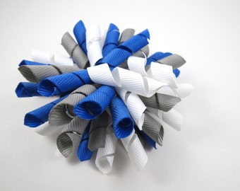 Gray Blue and White Korker Hair Bow  -  Royal Blue Hair Bow - White Hair Bow - Grey Gray Hair Bow - Korker Hair Clip - Korker Hair Bow