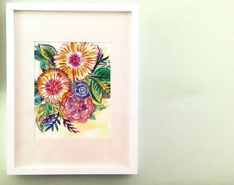 Nouveau Novice Floral Watercolor Fine Art Print in 8x10 or 11x14