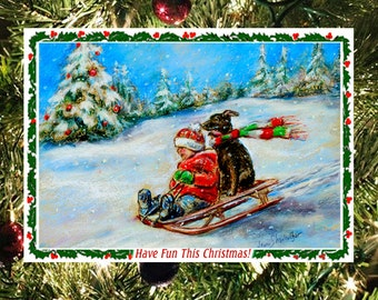 """Christmas greeting Card sets, Handmade Fun detach Art Photo """"Christmas Sled Ride"""" by Laurie Shanholtzer"""