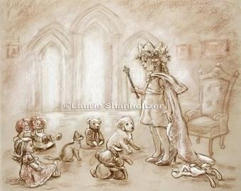 "Princess Art Girl kids decor, illustration Nursery print ""Our Princess Holding Court"" monotone choose size Laurie Shanholtzer"