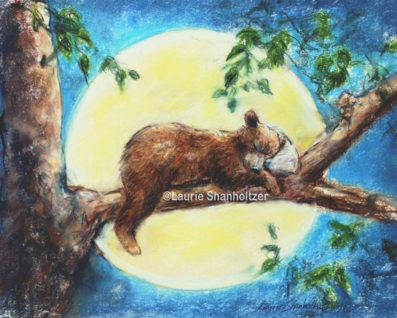 Baby Bear Animal Decor Nursery Art Print By Laurieshanholtzer