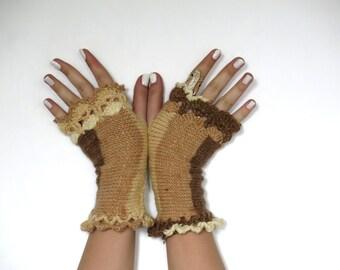 Knitted Wrist Warmers Women's Winter Cozy Fingerless Gloves BEST Stocking Stuffers Brown Caramel, Fingerless Gloves, Crochet Mittens, Glove