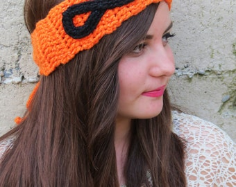 Knitted Head band infinity symbol Ear Warmer Orange Black. Winter Warm. Head Dress, Winter Fashion, Hair Bands Hair Coverings for Women