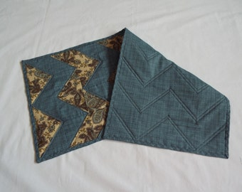 Table Runner, Table topper, quilted table runner, primitive table runner, paisley, cream, blue, country blue, smoke