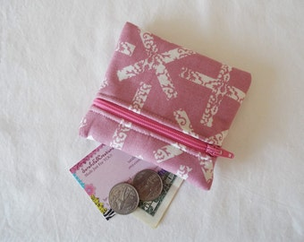 Coin Purse, Zipper Pouch, Change Purse, Wallet, X, cross, x marks the spot, lavender, pink, rose