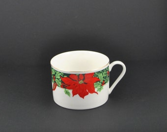 Vintage Gibson Christmas Teacup, Holly and Poinsettia & Red Ribbons China Cup