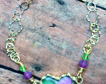 Broken China Bracelet, Broken China Jewelry, Heart Charm, Pink and Green Floral China, Sterling Silver Chain, Soldered Jewelry