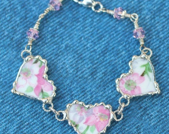 Bracelet, Broken China Jewelry, Broken China Bracelet, Heart Charms , Pink Floral Chintz, Sterling Silver, Wire Wrapped