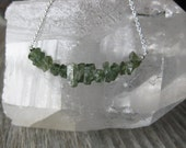 rough green TOURMALINE crystal chunk sterling silver necklace