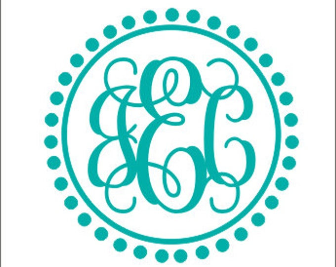Monogram Wall Decal Vine Monogram Personalized Wall Decal Vinyl Decal Wall Monogram Girls Nursery Decal Bedroom Decal Preppy Decal Vinyl