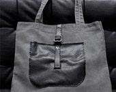 Hand Embroidered Cotton and Vegan Leather Big Tote Bag