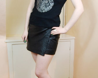 90s Grunge Hippy Boho Black Soft Cotton Silver Glitter Paisley Design Sleevless Tank Top S