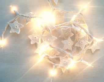 Star String Lights - Crochet Garland - Rustic Decor