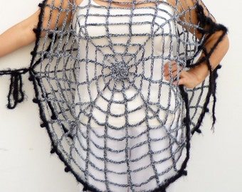 Halloween Costume One Size Spider Web Poncho Halloween Women's Clothing Goth Hippie Grunge Clothes Crochet Mesh Poncho