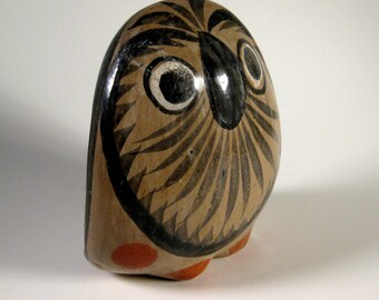 Vintage Terracotta Handpainted Owl