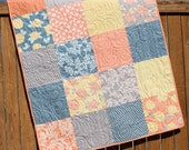 Autumn Woods Baby Girl Quilt, Baby Quilt, Blue Orange Yellow, Muted Colors, Floral Nusery Bedding, Crib Quilt, Toddler Quilt, Moda, Handmade
