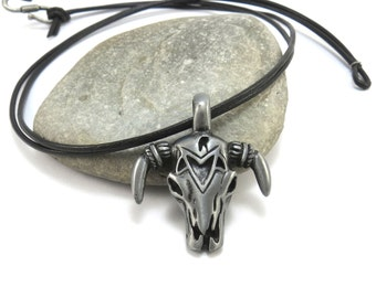 Bull Skull Necklace - Southwestern Jewelry, Mens Cow Skull Pendant - Steer Skull Necklace with Leather Cord