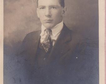 "Ca 1920's ""Handsome Man"" B & W Real Photo Post Card - ""Frazer"" - 468"