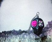 Mexican Skull Necklace - Sugar Skull with Pink Rose - Day of the Dead - Dia de Los Muertos