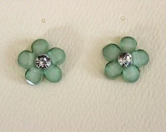Mint Green Flower Pierced Stud Earrings With Crystal Rhinestone Centers