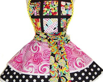 "READY TO SHIP-Sweet ""I Want Candy!"" Pinup/Diner Style Apron -- A  Tie Me Up Aprons Exclusive!"