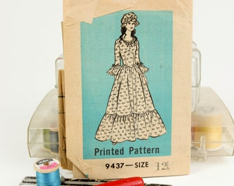Size 12, Peasant maxi dress w/ duster night cap, Mail Order Pattern 9437, Vintage 1960s Sewing Pattern