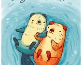 otters in love print