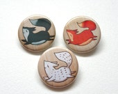 kawaii woodland fox buttons