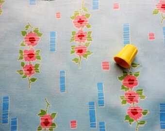 pink and red flowers on blue vintage cotton fabric -- 36 wide by 2 yards