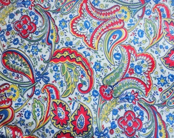 red and blue paisley print vintage cotton fabric -- 36 wide by 1 1/4 yard