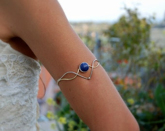 Arm Cuff Bracelet, Lapis Lazuli Sterling Silver and Brass