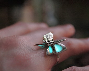 BUTTERFLY 3D Ring GLOW in the DARK Sterling silver