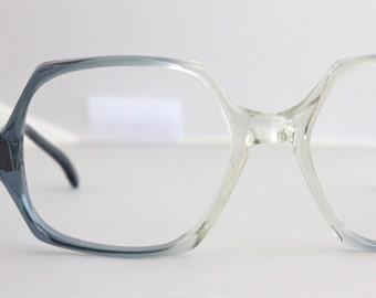 Vintage 70's Oversized Blue Squared Eyeglasses Sunglasses Frames