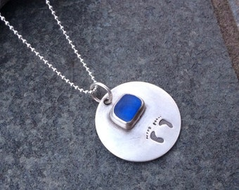 Sea glass jewelry, Bezel set blue sea glass mothers necklace with baby footprints
