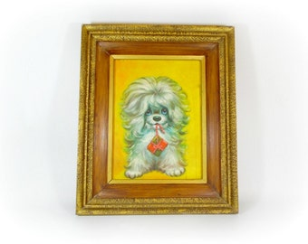 Vintage Kitsch Dog Painting Framed Puppy Art Kitschy Retro Wall Decor Original Painting Artwork