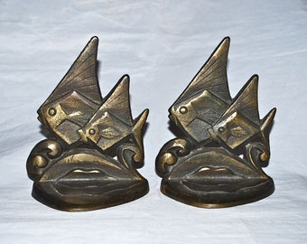 Tropical Fish on Stylish Waves with Art Deco Flair Bookends 1920s Cast Iron