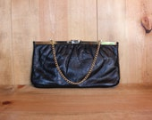 Small Black Purse Vinyl Clutch Chain Handle Womens  Accessories Vintage 1980s 80s (O)
