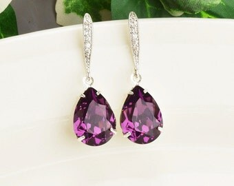 Amethyst Earrings - Swarovski Earrings - Purple Earrings - Bridesmaid Jewelry - Bridesmaids Earrings - Silver Crystal TearDrop Earrings